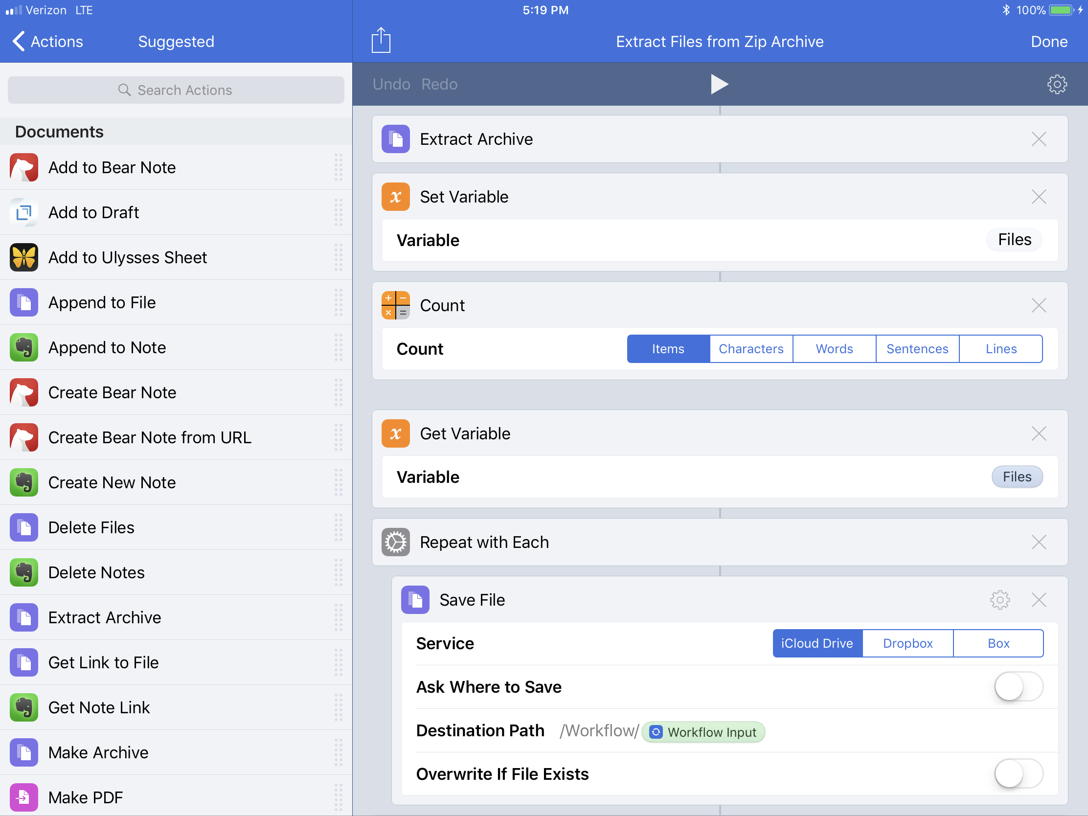 Screenshot of the Workflow I used to unzip files to the Workflow folder on iCloud